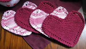 heart dishcloths