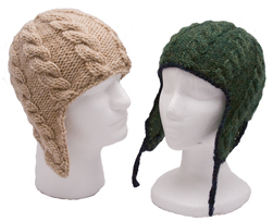 adult cabled flap hat knitting pattern