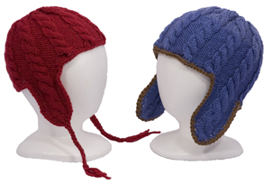 boys and girls cabled ear flap hat pattern