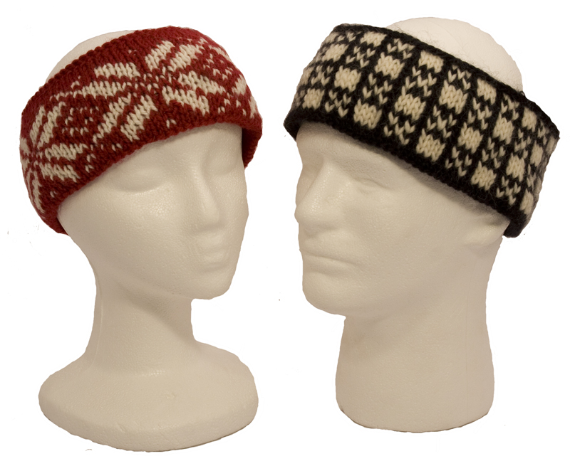 Momogus Knits Colorwork Headbands Knitting Pattern. Great intro to two-color knitting.
