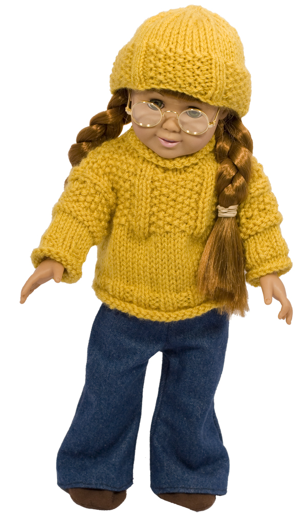 Momogus Knits American Girl Doll sweater and hat knitting pattern.