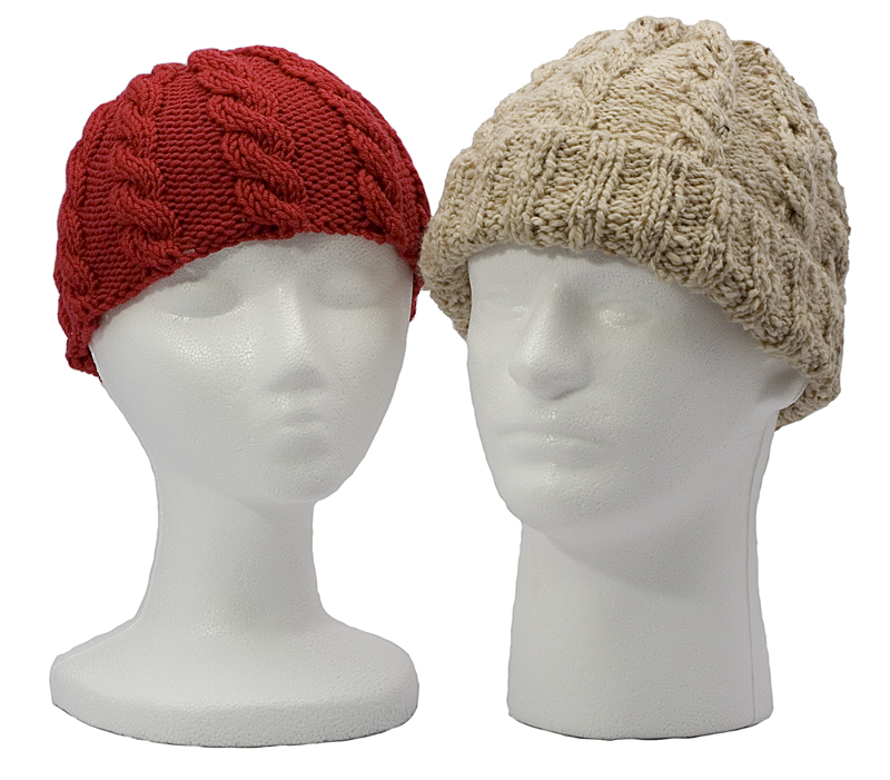 Momogus Knits Adult Cabled Hats Knitting Pattern. Great looking hats for men and women.