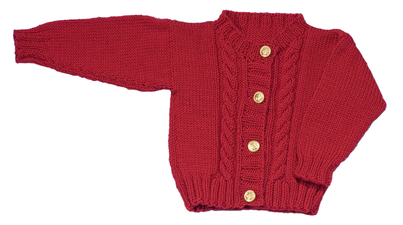 Momogus Knits Baby Cardigan Knitting Pattern. Our patterns are great for learning to knit cables.