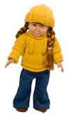 Hat and Sweater Knitting Pattern for American Girl Doll